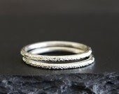 stardust sterling silver stacking ring, solid recycled silver band, eco friendly, handmade