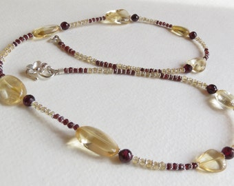 Necklace made with Garnets,  Citrine and Sterling Silver, Smokeylady54
