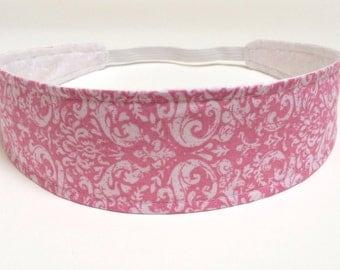 Headband Reversible Fabric  -  Strawberry Pink & White Damask Floral Headband  -  Headbands for Women -  DAPHNE