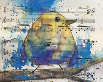 Yellow bird Watercolor Recycled art Upcycle painting on vintage sheet music