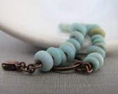 Blue Bracelet, Robins Egg Blue, Glass Bracelet, Beaded Bracelet, Pale Blue Glass, Copper Bracelet, Copper Jewelry