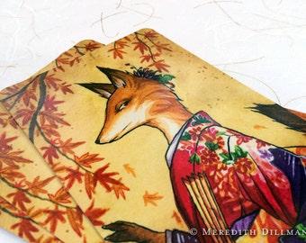Postcard - Fox Art, Japanese Kimono, Kitsune, Autumn, Post Card, fantasy print, card, Meredith Dillman