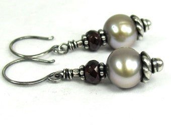 Pearl, Garnet, Hill Tribe Fine Silver Earrings