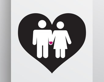 Couple Love Print - Download Digital Art - Printable - Wall Art - Black White Heart Print - Multiple Sizes - Valentines Day Print