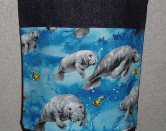 New Small Handmade Manatee Wildlife Denim Tote Bag