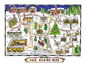 "North Pole Map / 11"" x 14"" Archival Print / Christmas Art / Holiday Art / Santa Claus Art"
