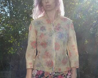 Vtg VERSUS Versace Floral Embroidered Plastic Jacket sz M