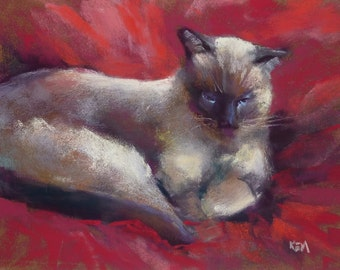 CAT Taking Bath Original Pastel Painting Karen Margulis 8x10