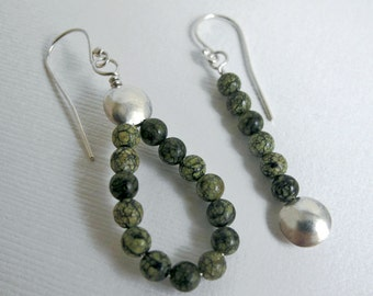 Asymmetrical Sterling and Green Snowflake Jasper Lentil Earrings - Asymmetrical Earrings as Pair