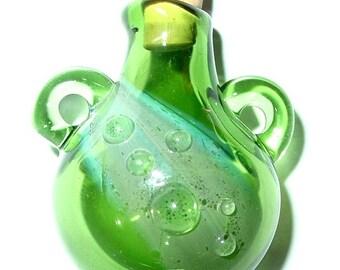 Glass Stash bottle focal pendant - Green Dream