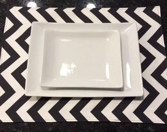 Custom Placemats | Table Linens | Home Accessories | Chevron Zig Zag Black White
