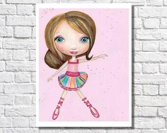Ballerina Artwork For Girls Room Ballerina Gift Illustration Baby Nursery Wall Art Picture Little Girl Bedroom Dance Decor Idea Dancer Print