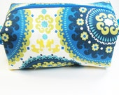 Makeup Bag Cosmetic Case - blue and yellow medallion