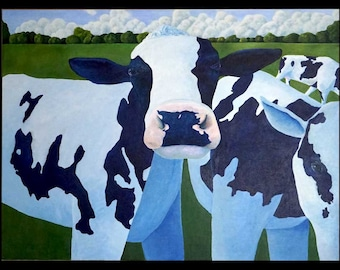 Cow Landscape Original Painting 40x30 Pasture Field Bovine Afternoon Light Noses Grass Dairy Folk Artwork Pastoral Farm