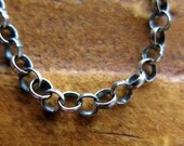 Antiqued Sterling Silver Filled Rolo Chain - 1 foot