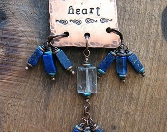 Brave Heart Scroll - Stamped Antiqued Copper Pendant