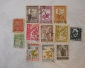 12 Vintage Postage Stamps, Portuguese India, 1950s, Some Uncanceled