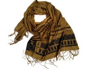 Vintage Synth scarf. 808 drum machine, linen look pashmina. Black print on olive & more. For men or women, electronic music fans!