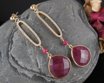 Gold-Filled Ruby Briolette Earrings