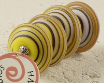 Wacky Chunky Spiral Discs - Matte Yellows and Browns