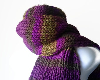 Knit Classic Scarf Purple Green Ombre Stripe Scarf, Vegan Rib Knit Men Women Unisex FELIX Ready to Ship - Autumn, Winter Fashion