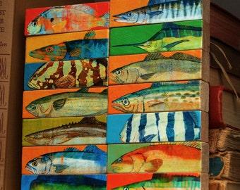 Whole Mess of Fish Sticks- Saltwater Fish Art Block Set of 14- Fish Prints Sea Life Print- Beach House Art- Husband Gift- Dad Gifts for Him