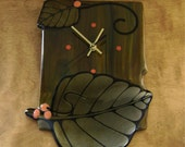 Wall Clock with Leaves in Fused Glass