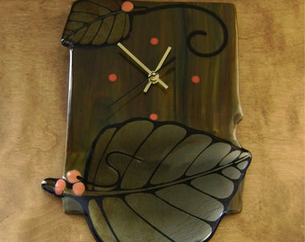 SALE - Wall Clock with Leaves in Fused Glass