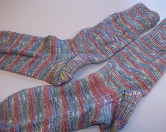 Hand knit hand dyed socks stockings Monet colors pink rose lilac green cream women's medium large merino wool