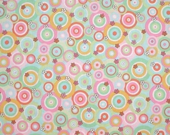 Baby Nursery Fabric For Children Pastel Colors Polka Dots Circles Small Flowers Mint Green Orange Pink Light Blue Yellow Gold