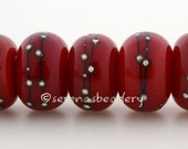 RED with Fine Silver Dots - Handmade Lampwork Glass Beads - taneres