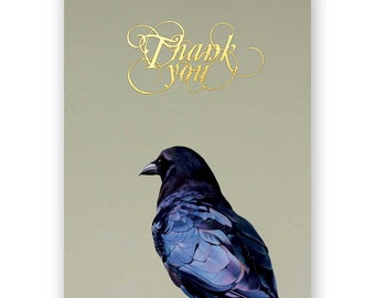 Crow Thank You Card - Bird - Crow - Raven - Corvid - Greeting - Stationery - Thanks - Mincing Mockingbird