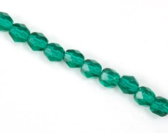 6mm Transparent Emerald Fire Polished Bead  (25 Pcs)  #GBD007