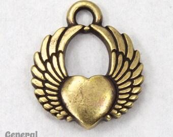 20mm Antique Brass Winged Heart Charm #CKC188