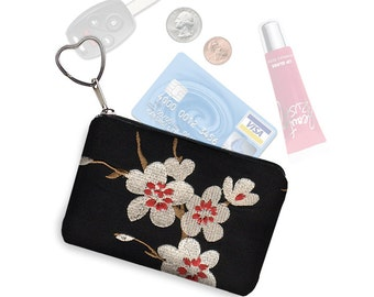 Asian Blossom Small Zippered Pouch Coin Purse Keychain Business Card Holder Key Fob  fabric pouch cherry red black white RTS