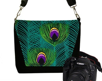 DSLR Camera Bag Purse Womens Camera Case for Nikon, Canon, Sony, etc.  Zipper Pocket  Messenger Bag Peacock Feathers green teal purple RTS