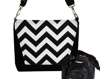 SALE Messenger Camera Bag Padded Slr Camera Messenger Bag Padded Dslr Camera Bag - Chevron black white RTS