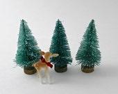 3 Teal Bottle Brush Trees