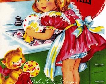 1940s To My Dishy Fella Valentines Vintage Digital Greetings Card Download Printable Images (468)