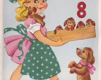 Vintage Happy Birthday Now That You're 8 Puppies & Little Girl Greetings Card (B15)