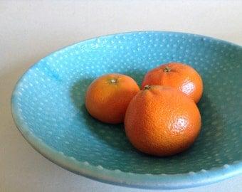 8-inch sweet little Serving Bowl polkadot textured matte turquoise, highfire ceramic dish