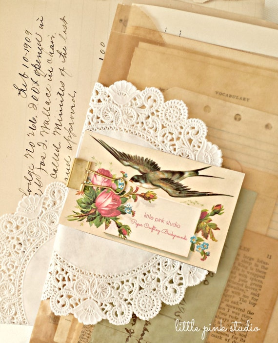 Packet of vintage and antique paper ephemera, great for background papers