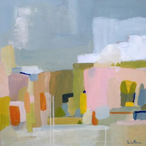 Abstrait peinture paysage abstrait art contemporain vert for Tableaux modernes colores