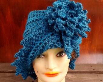 Ocean Blue Cloche Hat, Womens Crochet Hat, Blue Womens Hat 1920s, Blue Hat, LAUREN 1920s Cloche Hat, Crochet Flower