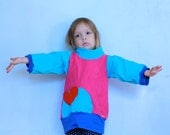 Magenta Color Block Tunic Turtle Neck and Heart Pocket - size 3-4 -Upcycled Patchwork - One of a Kind