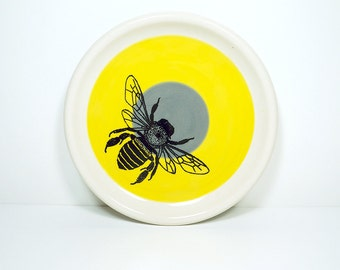 little plate honey bee in colour block of yellow & storm grey. Made to Order.