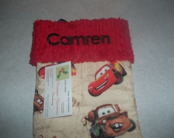 Disney Pixar Cars Lightening McQueen and Chenille Handmade Christmas Stocking FREE US SHIPPING