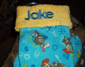 Buzz Lightyear and Sheriff Woody (Toy Story) and Chenille Handmade Christmas Stocking FREE US SHIPPING