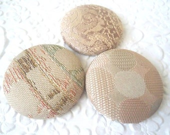 Peach buttons, fabric buttons, covered buttons, size 60 buttons