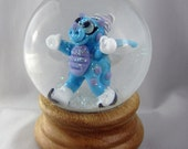 Ice Skating Dragon Snow Globe Sculptural Glass Bead In Snow Dome DITS Lampwork by Annette Nilan